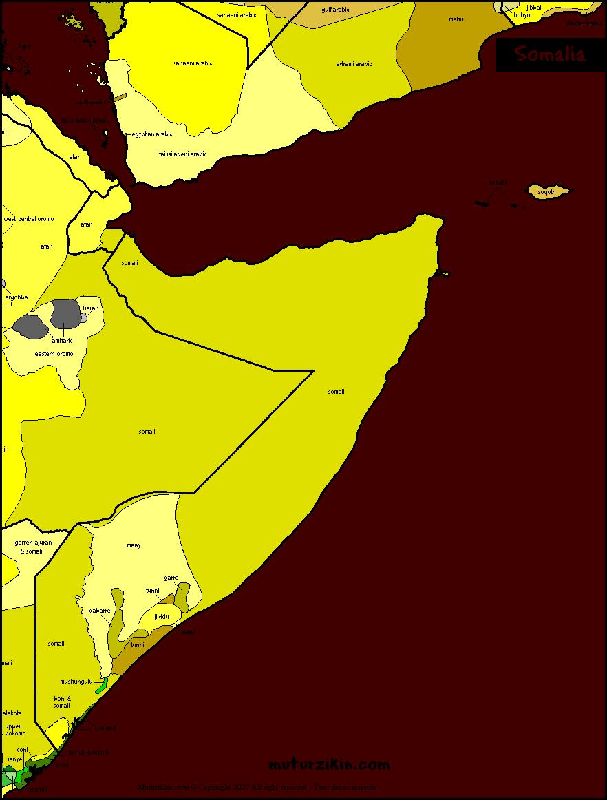 Somalia - Linguistic map