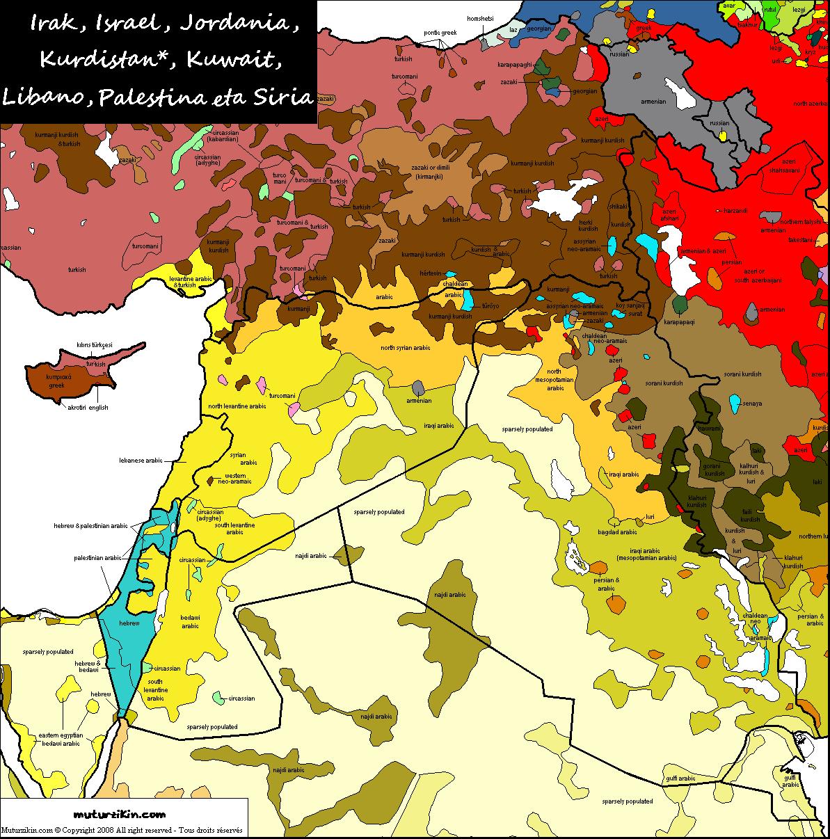 irak israel jordania kuwait lebanon palestine syria carte linguistique linguistic map