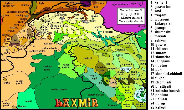 Pakistan Afghanistan Carte linguistique Linguistic map