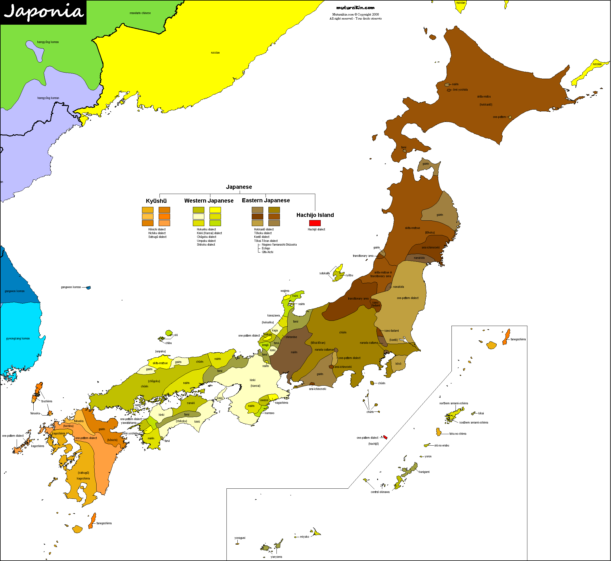 Japan Carte Linguistique Linguistic Map - Japan map 6