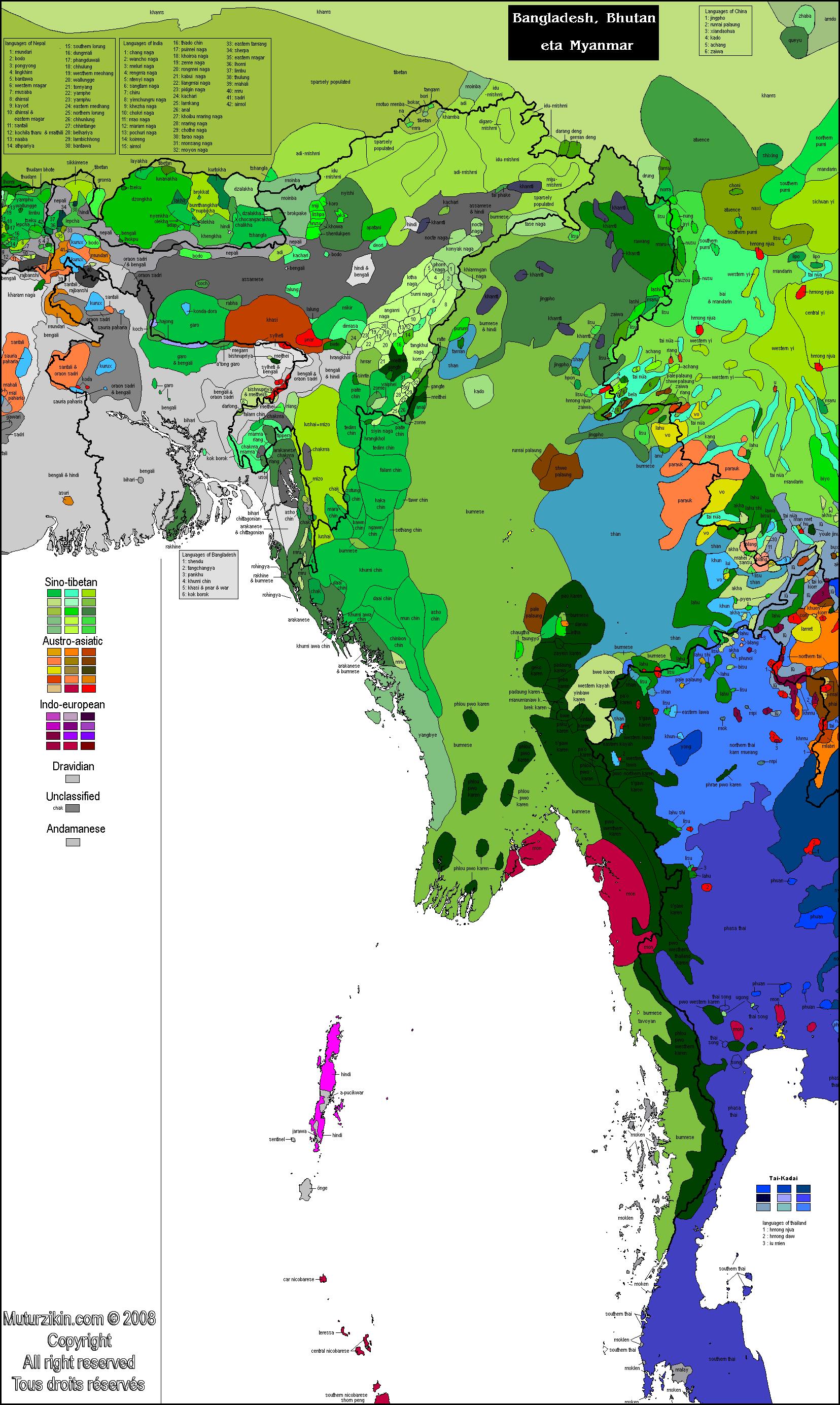 South Asia - Carte linguistique / Linguistic map