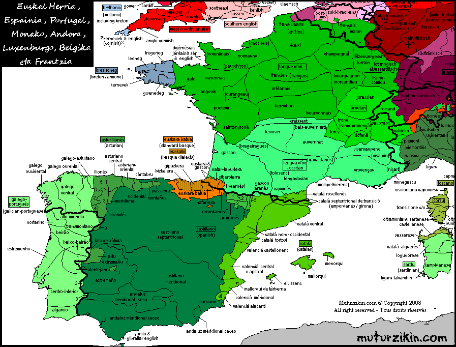 Map Of Spain Portugal And France.France Spain Portugal Andorra Basque Country Linguistic Map