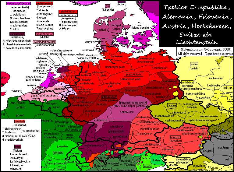 germany netherlands belgium luxembourg austria switzerland czech republic liechtenstein linguistic map