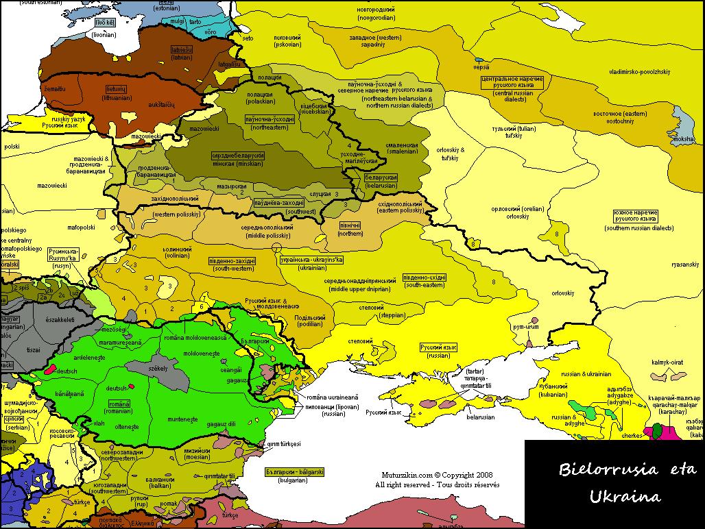 Ukraine & Belarus - Linguistic map