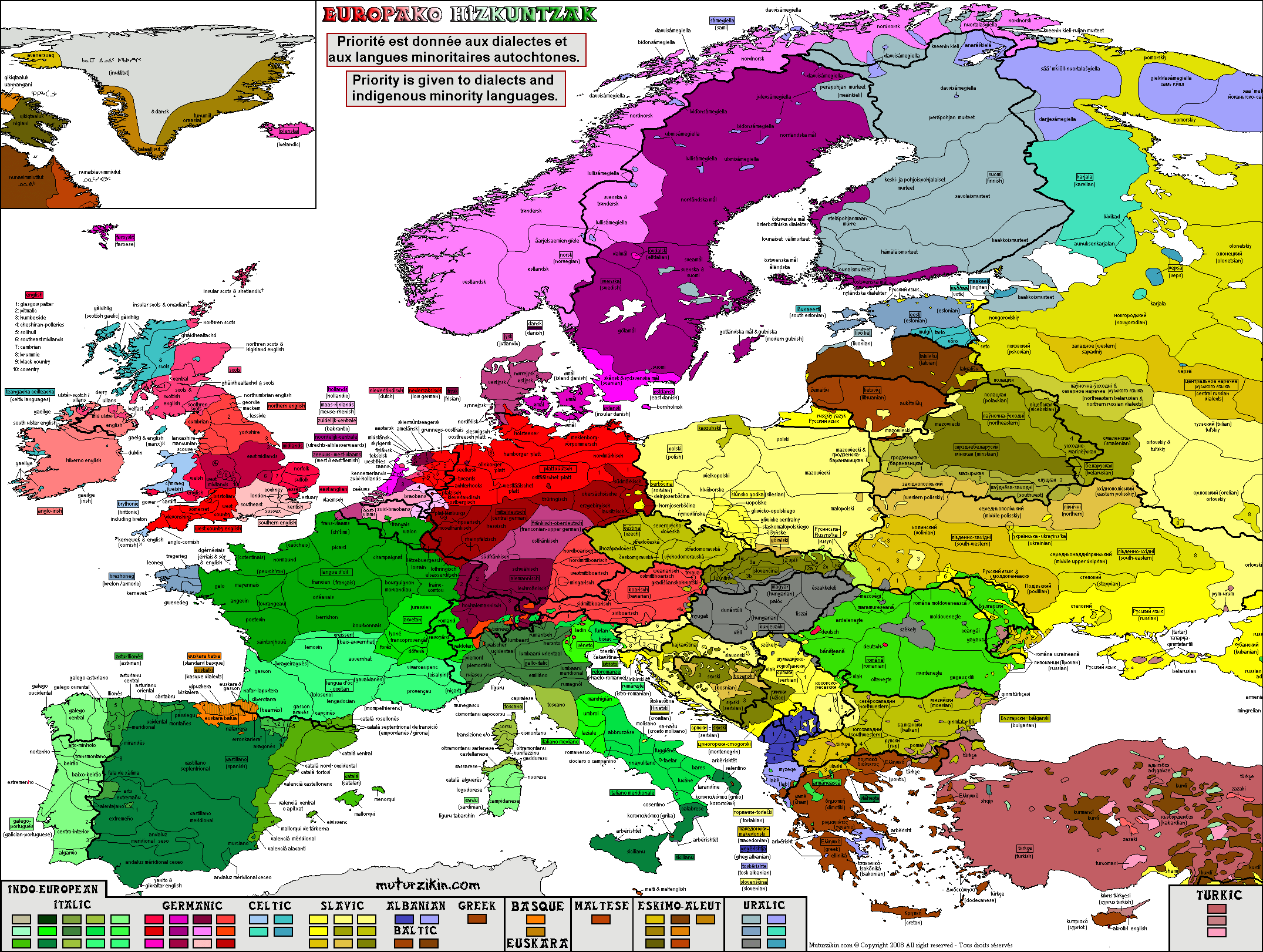 Europe   Carte linguistique / Linguistic map