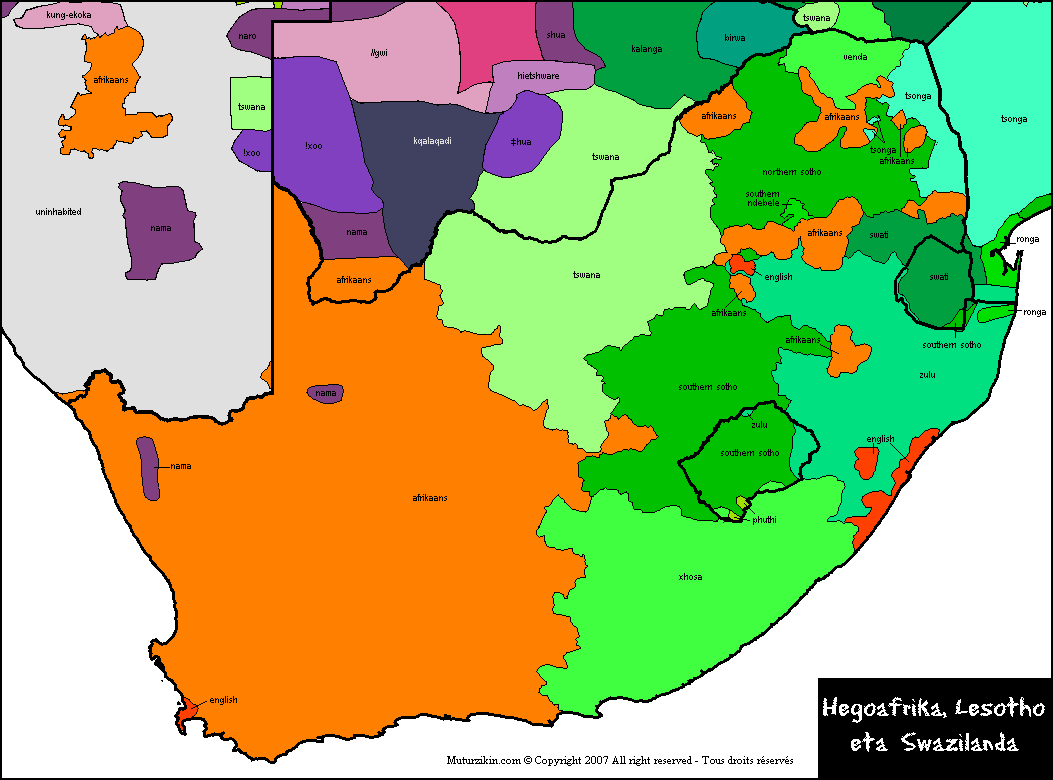 South Africa   Linguistic map
