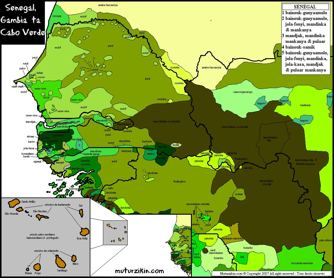 Carte Senegal Cap Vert.Senegal Gambie Cap Vert Carte Linguistique
