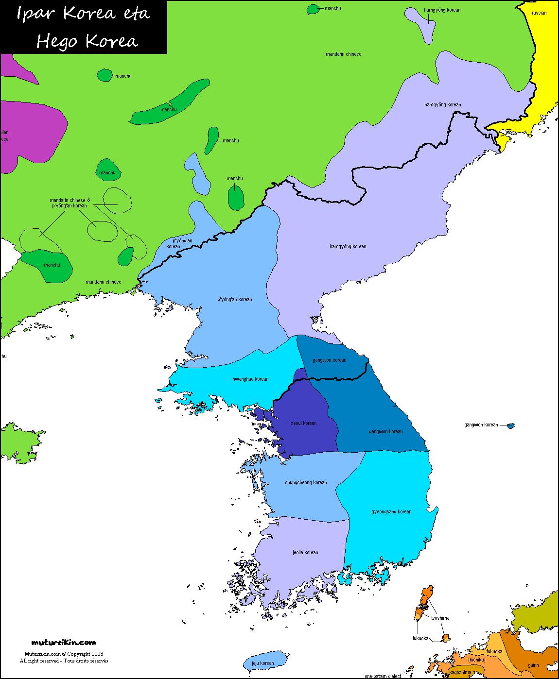 korea karta Korea   Carte linguistique / Linguistic map korea karta