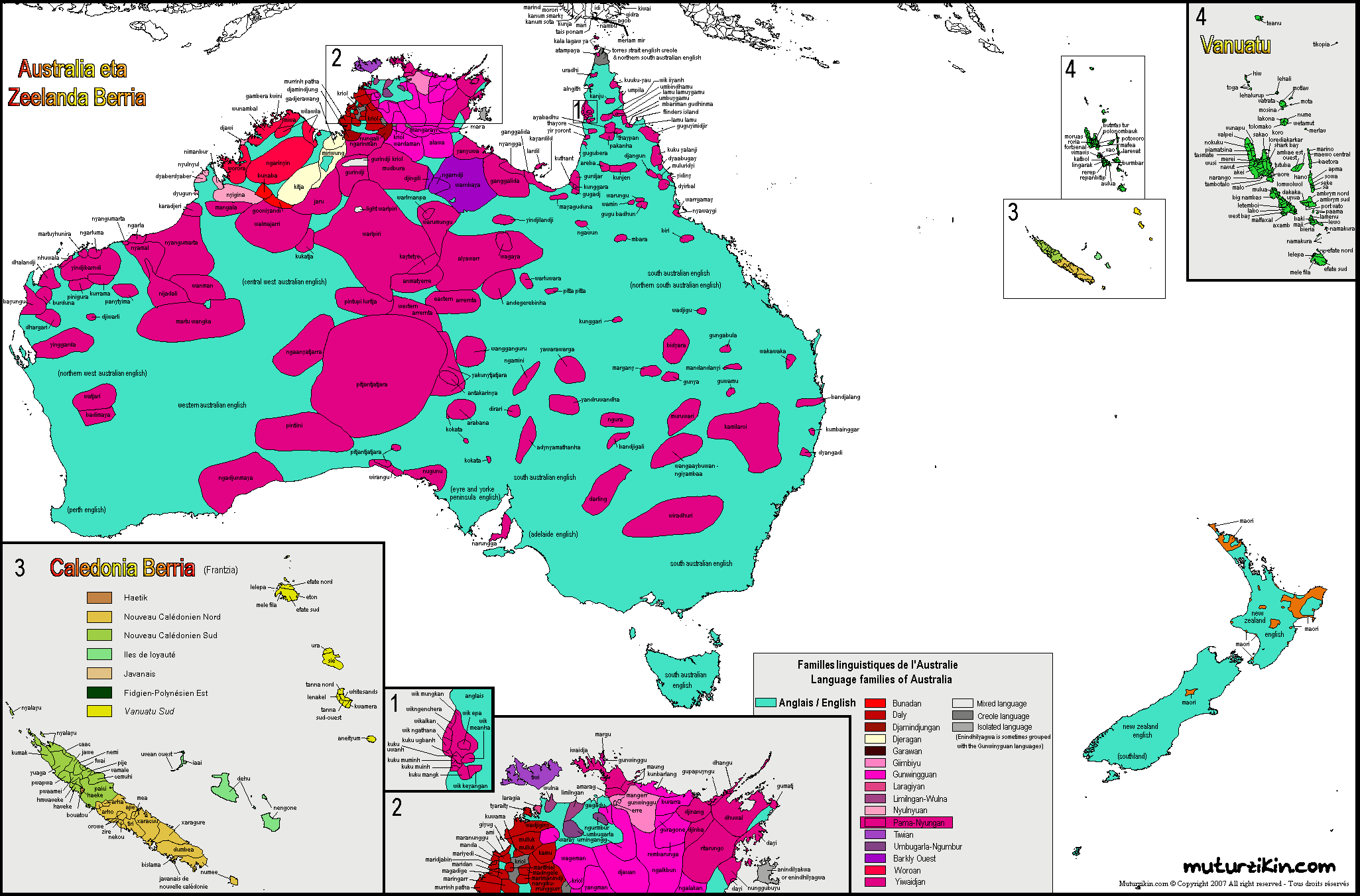 Carte Map Australia.Oceania Carte Linguistique Linguistic Map